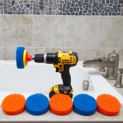 Scrubza in bathroom, 6 scouring pads, 1 drill, 1 backer pad.